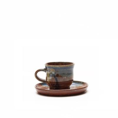 Espressogedeck mit bunter Glasur