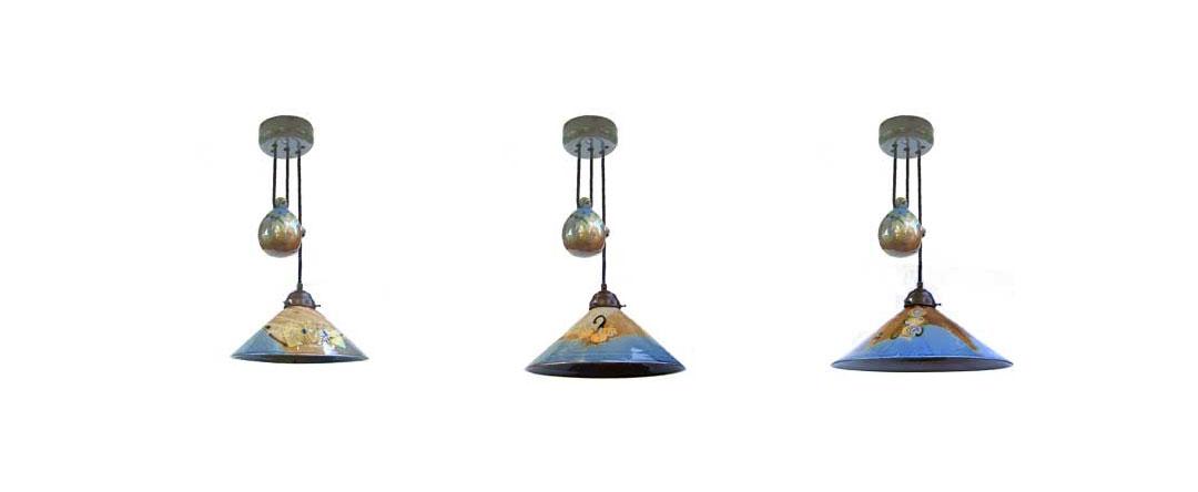 Drei Zuglampen aus der bunten Serie